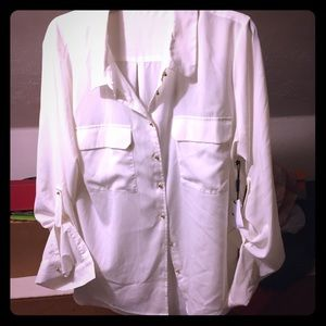 New Calvin Klein white silk like shirt